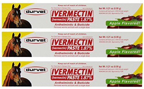 Dewormer Single - Ivermectin Paste Dewormer - 6.08g dose @ 1.87% Apple Flavor (3-Pack)