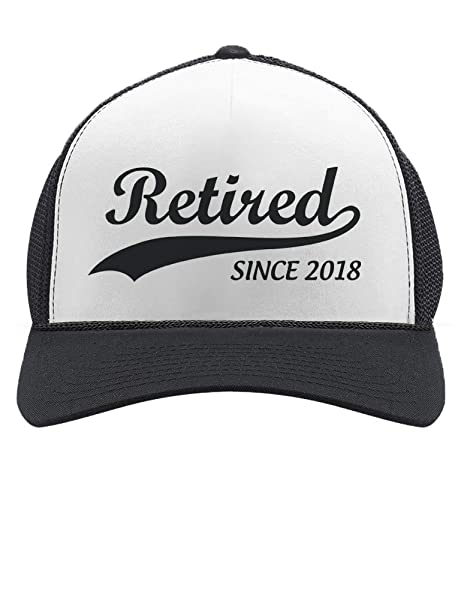 79a88631d26 Retired Since 2018 - Cool Retirement Gift Idea Retiring Trucker Hat Mesh  Cap One Size Black White at Amazon Men s Clothing store