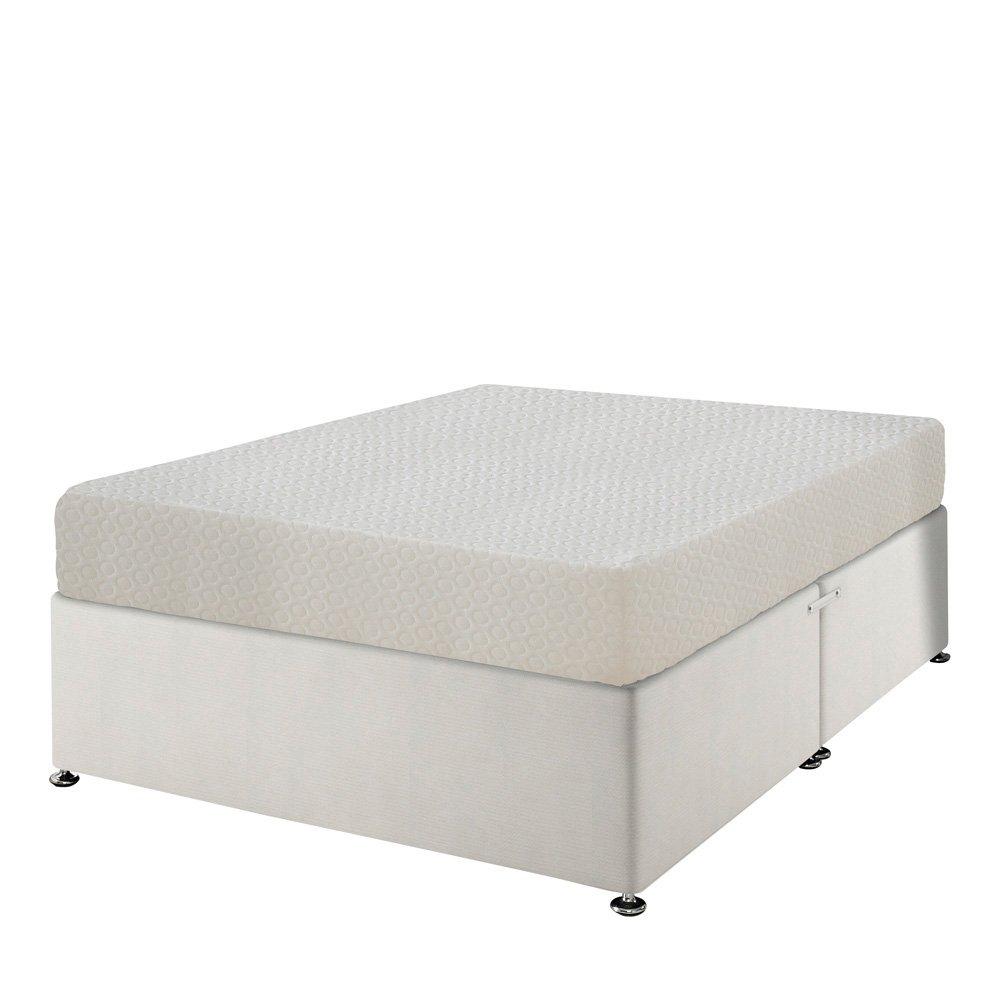 Happy Beds Memory 5000orthopädischen Memory Foam Feste Matratze mit abnehmbarer Bezug mit Reißverschluss/Stoff Divan-Base/verschiedene Schublade/ohne Kopfteil, Weiß, Klein (120 x 190 cm), doppelt