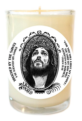 Crucifixion of Jesus Christ 8 Oz Scented Soy Glass Prayer Candle by Touched By The Saints