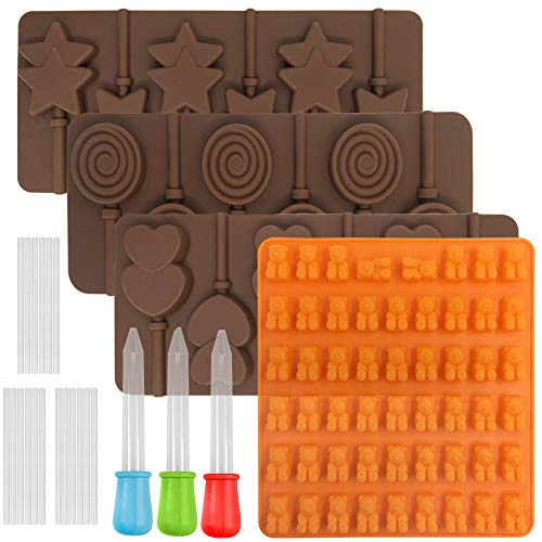 4 pcs Lollipop Mold Jelly Mold, FineGood Silicone Chocolate Candy Gumdrop Cookie Baking Mould Ice Cube Trays Pan Craft Mold, with 3 pcs Droppers ()