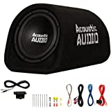 Acoustic Audio by Goldwood ACA10T Powered Amplified 10 Car Subwoofer 800W with Wiring Kit and Remote Level Control, Black