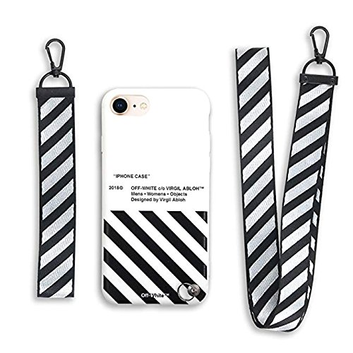 innovative design 7d076 42018 RawthenticNYC Hypebeast Design x Street Fashion Case - Slim Flexible TPU  Durable Protective Cover with Designer Lanyard for iPhone 7+ & 8+ (White &  ...