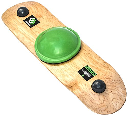 Whirly Board Spinning Balance Board and agility trainer w/clear skateboard grip tape,Green center ball by Whirly Board