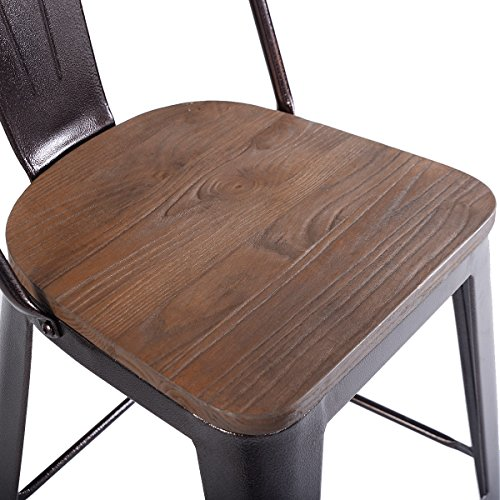"New Copper Metal Wood Counter Stool Kitchen Dining Bar: Costway 23.6"" Copper Set Of 4 Metal Wood Counter Stool"