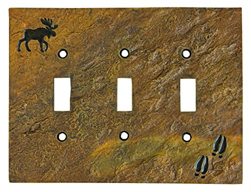Moose Switch Plates (Big Sky Carvers 30170446 Moose and Tracks Triple Switch Plate)