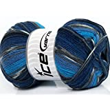 Lot of 4 x 100gr Skeins ICE YARNS Super Sock Turquoise Grey