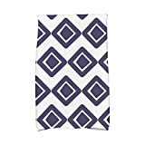E by design KTG823BL1 Diamond Jive 1 Geometric Print Kitchen Towels, 16 x 25, Navy Blue