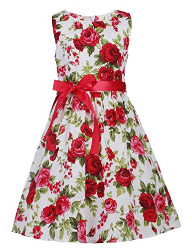 PrinceSasa Kids Floral Dress Rose Cotton Dresses for Girls,White red2,4-5 Years(Size 120) ()