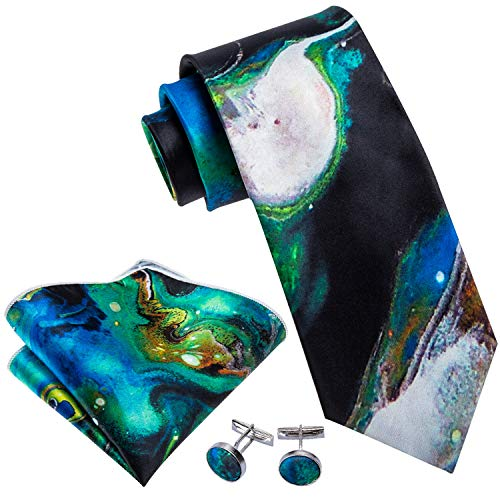 Barry.Wang Blue and Green Ties Designer Party Necktie Pocket Square Cufflink