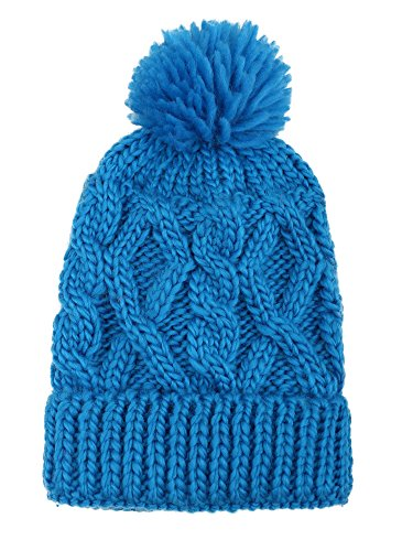 Younglove Soft Winter Cable Knit Pom Pom Beanie Winter Hat Cap For Boys/Girls,Sky Blue by YoungLove (Image #2)