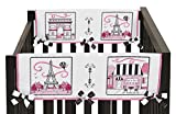 Sweet Jojo Designs 2-Piece Pink and Black Paris France French Girl Teething Protector Cover Wrap Baby Crib Side Rail Guards