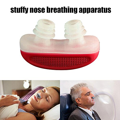 Stop Snoring Solution Sleeping Device, Aolvo Anti Snore Nose Clip Relieve Stuffy Nose Air Purifying Filter for Comfortable Sleep (Red)