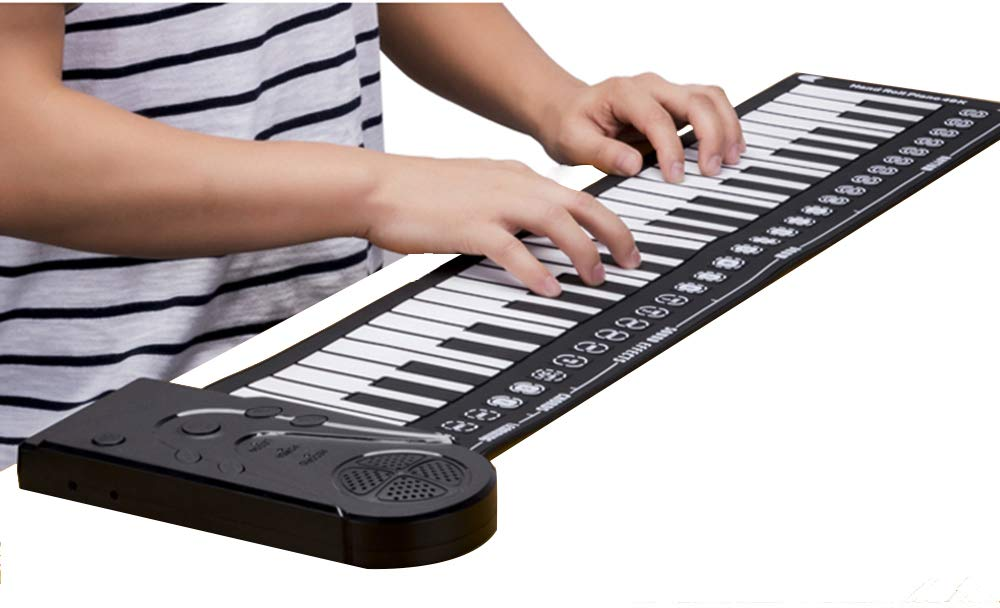 NUTK Roll Up Piano Keyboard,Portable Foldable 49 Keys Flexible Soft Silicone Electronic Music Keyboard Piano with Louder Speaker for Children Beginner. Boys Girls Men Women.Kids
