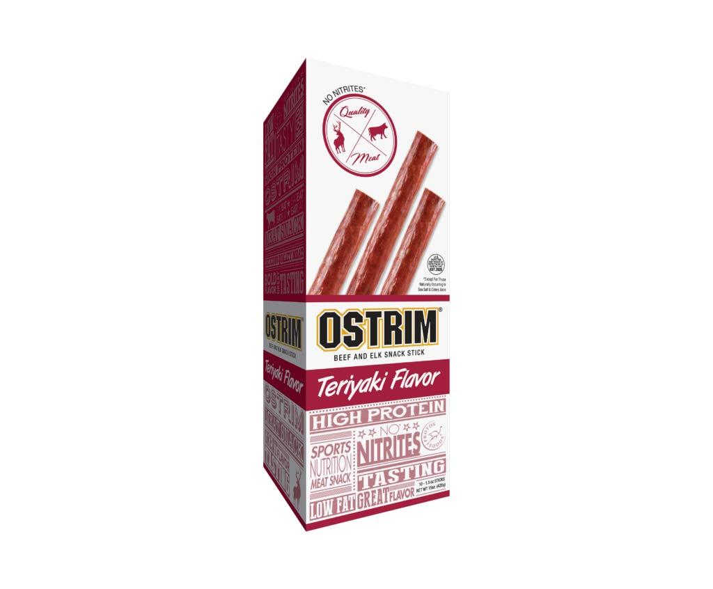 Ostrim Beef & Elk Jerky Snack Sticks-Teriyaki Flavor, 1.5 oz (Pack of 10)
