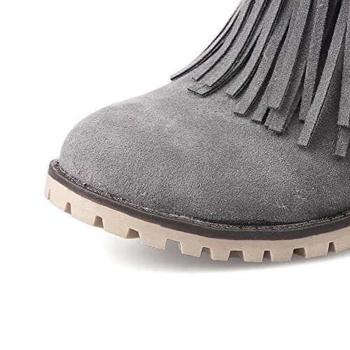 Kitten Heels WeiPoot top Gray Boots Dull Closed Toe Solid Low Polish Round Women's RnRqATS