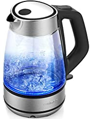 Cusimax 7-Cup BPA-free Glass Electric Kettle, UK Strix LED Illuminating Cordless Water Kettle with Auto Shut-off & Boil-dry Protection, CMWK-150G