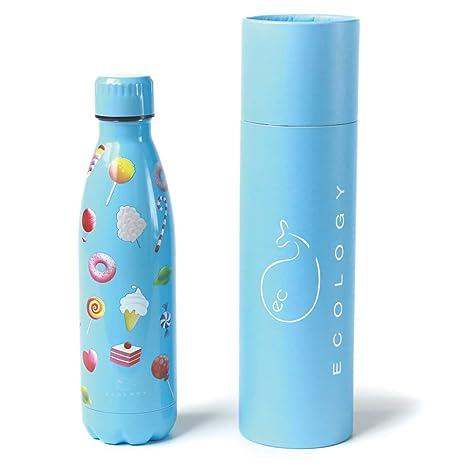 EC Ecology Botella de agua de acero inoxidable sin BPA, botella de agua reutilizable, doble pared aislada al vacío 500 ml Candy