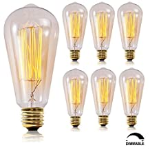 SooFoo Vintage Antique Style Edison Bulb, Dimmable, 110v 60W ST64 Squirrel Cage Filament Incandescent Bulb, 6 Pack