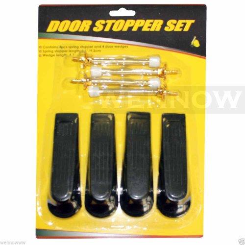 Wennow 4 Pcs plastic door wedges + 4 Pcs Metal Spring Multi Door (4 Pcs Spring Door Stops)