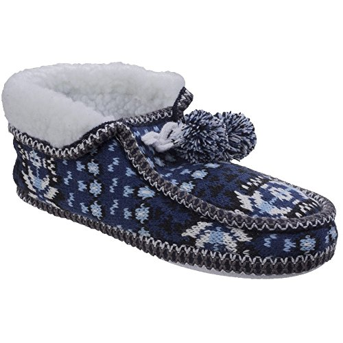 Divaz Womens/Ladies Lapland Full Shoe Knitted Casual Bootie Slippers Blue