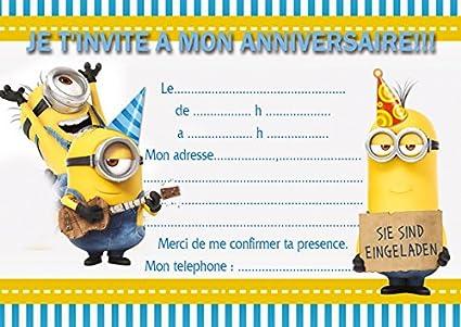 10 tarjetas invitación cumpleaños Minions, color avec des ...