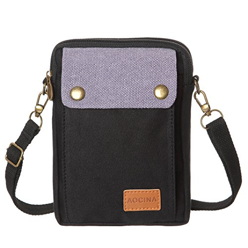 Cell Black Phone Small Bags Purse Pocket Big Wallet Crossbody Women Canvas Purse TpqxrTA