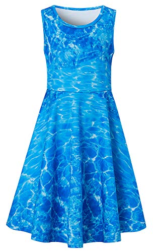 Sundresses for Teenager Girls Age 10-12 13 Hawaii Luau Graphic Blue Printed Crew Neck Sleeveless Midi Long Young Fairy Childrens Belle Dress Formal Gala Birthday Party Wear -