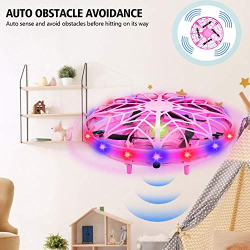 UTTORA UFO Mini Drone for Kids UFO Drone Toys Hand Controlled Induction Levitation Rechargeable Flying Toy with LED Indicator Kids Flying Ball Drone Toys for Girls Boys