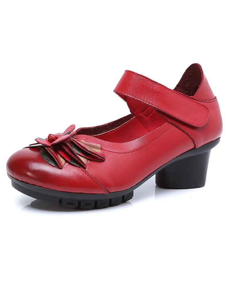 Women's Soft Real Leather Comfortable Round Toe Mid Heel Mary Jane Shoes (US 10, Style 1 red)