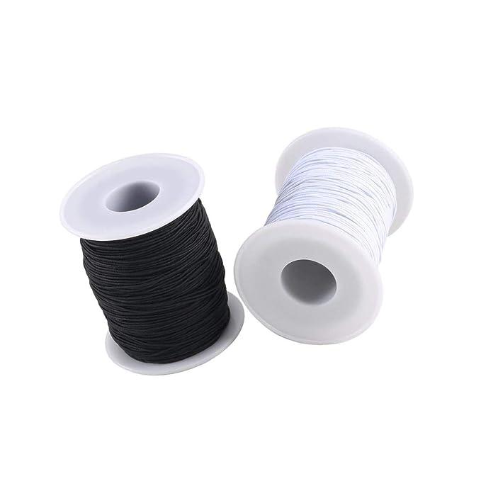 Lvcky FJSM - Cordón elástico para bisutería, 2 Rollos, 0,8 mm ...