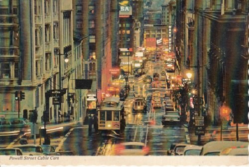 Vintage Used Postcard Powell Street Cable Cars at Twilight Time in San Francisco - Francisco San Powell Street