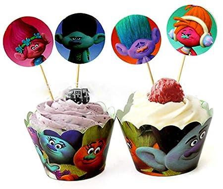 FidgetFidget Paquete de 12 Trolls Poppy Branch Cupcake ...