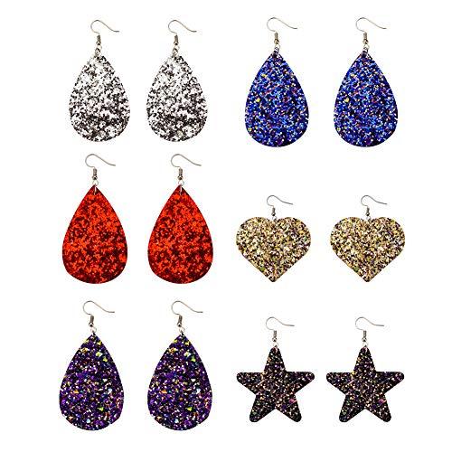 Exweup Glitter Leather Earrings for Women Girls Star Heart Shape Druzy Teardrop Dangle Statement Earrings 6 Pairs