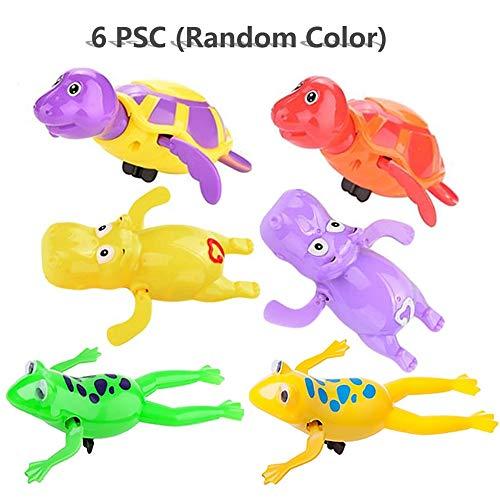 Sealive 6 pcs Clockwork Wind Up Bath Toy, 2 pcs Wind-up Turtle & Hippo & Frog Floating Plastic Bath Shower Toy (Random Color)