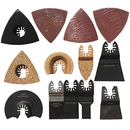 XXGO 25 Pcs Universal Oscillating Multi Tool Carbide Bi Metal Segment Scraper Wood Sanding Pads Saw Blades Accessories Kits For Cutting Scraping Sanding Grinding Tile Polishing Removing ()