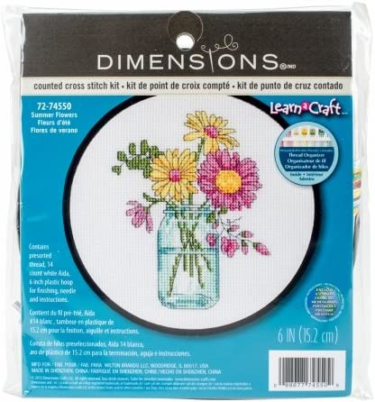 Dimensions Learn-A-Craft Summer Flowers Counted Cross Stitch Kit