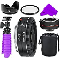Professional Accessory Kit with Canon EF 40mm f/2.8 STM Lens Bundle w/ Auto Focus 2x Teleconverter Lens and UV Filter for Canon EOS 7D Mark II, 60D, 70D, 80D, 6D, 5D Mark III Digital SLR Cameras