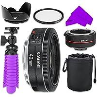 Professional Accessory Kit with Canon EF 40mm f/2.8 STM Lens Bundle w/ Auto Focus 2x Teleconverter Lens and UV Filter for Canon EOS 7D Mark II, 60D, 70D, 80D, 6D, 5D Mark III Digital SLR Cameras