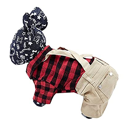 f7131197bd8 OSPet Dog Cotton Plaid Shirt Puppy Jumpsuit Overalls Outfit Small Dogs S