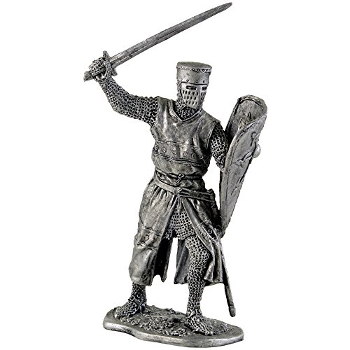 European Knight. 12th Century Metal Sculpture. Collection 54mm (Scale 1/32) Miniature Figurine. Tin Toy Soldiers ()