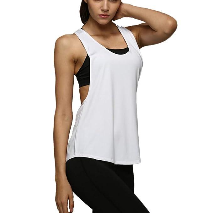 Camiseta Tirantes sin Mangas de Deporte para Mujer Verano, Tank Top Clásico Chaleco para Fitness Gimnasio Yoga Colores Opcionales Camiseta de Pijama ...
