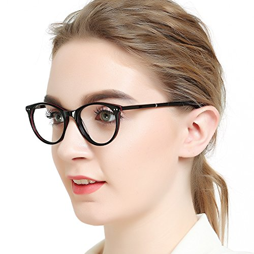 (OCCI CHIARI Optical Eyewear Non-prescription Eyeglasses Frame with Clear Lenses For Women(Black/Red))