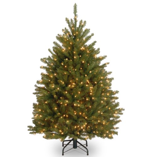 National Tree 4.5 Foot Dunhill Fir Tree with 450 Clear Lights, Hinged (DUH-45LO)