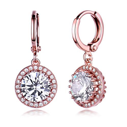 GULICX Womens Rose Gold Electroplated Zircon Vintage Style Round Hoop Earrings Dangle Leverback