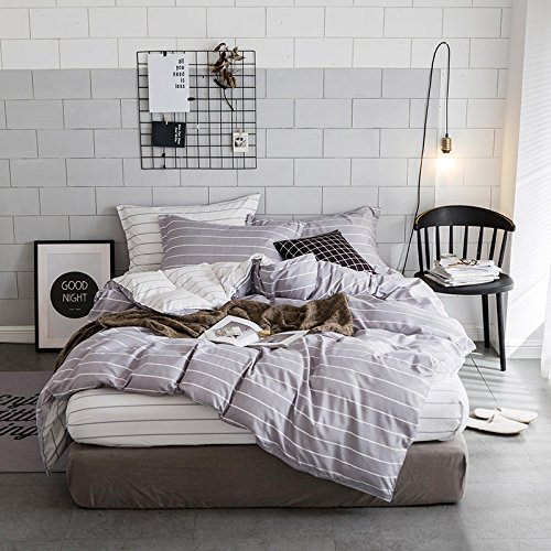 Cheap  Luxury Geometric Best Bedding Sets TwinXL Grey for Boys Men Grid Pattern..