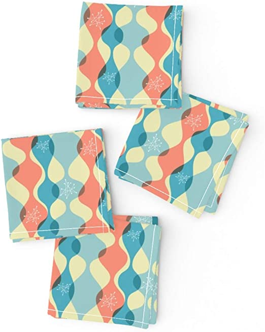 Mid Century Modern Vintage Retro Cotton Dinner Napkins by Roostery Set of 2