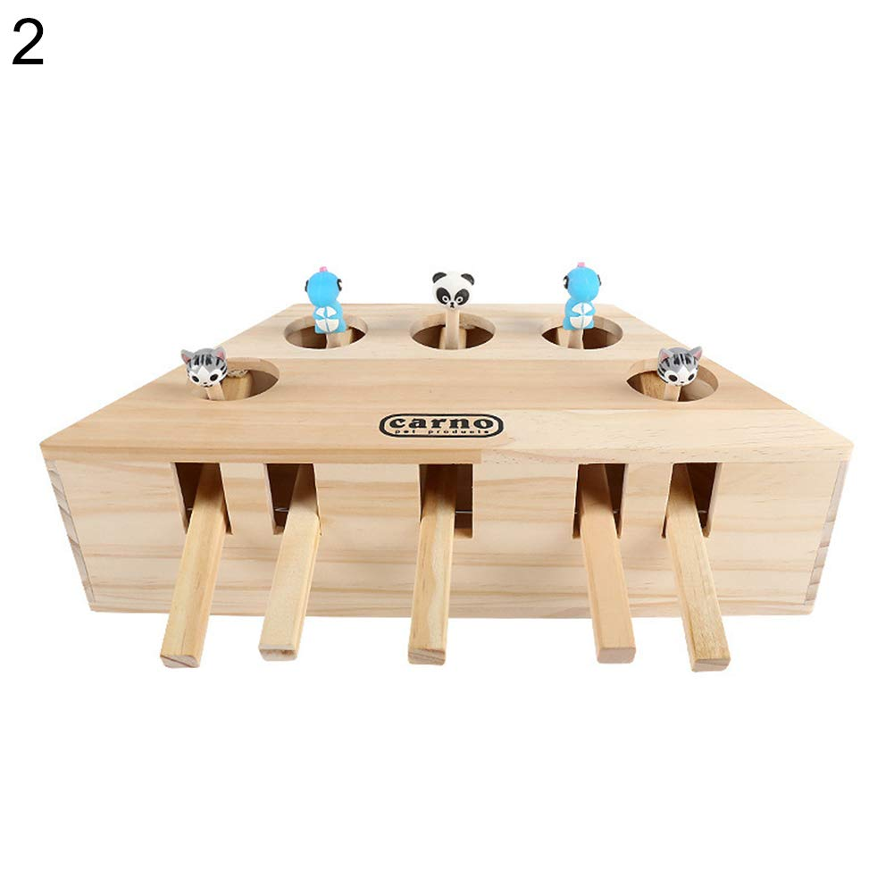 Gilroy Interactive Cat Teaser Toy, Solid Wooden Cat Exercise Toy Whack a Mole Mouse Puzzle Box with Different Cute Cartoon Toys for Cat Kitten Hunting Playing Exercising Scratching Bite - 3/5 Holes
