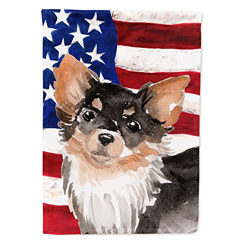 Caroline's Treasures BB9389CHF Long Haired Chihuahua Patriotic Decorative House Flag, Size