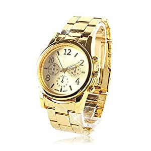 Fashion Geneva Ladies Women Girl Unisex Stainless Steel Quartz Wrist Watch , Sports style and Attractive design, 100% brand new and high quality (Gold)